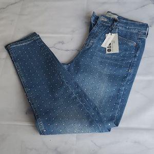 NWT - Topshop Moto Jamie Rhinestone Jeans